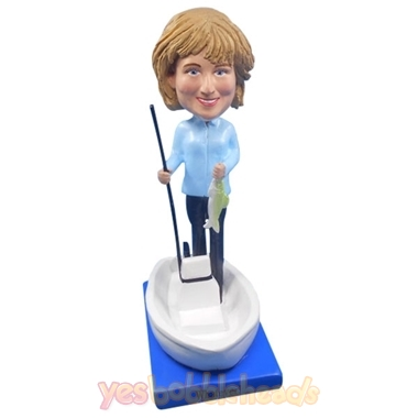 Picture of Custom Bobblehead Doll: Fishing Woman In Boat