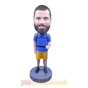 Picture of Custom Bobblehead Doll: Mountain Climber Holding Climbing Stick