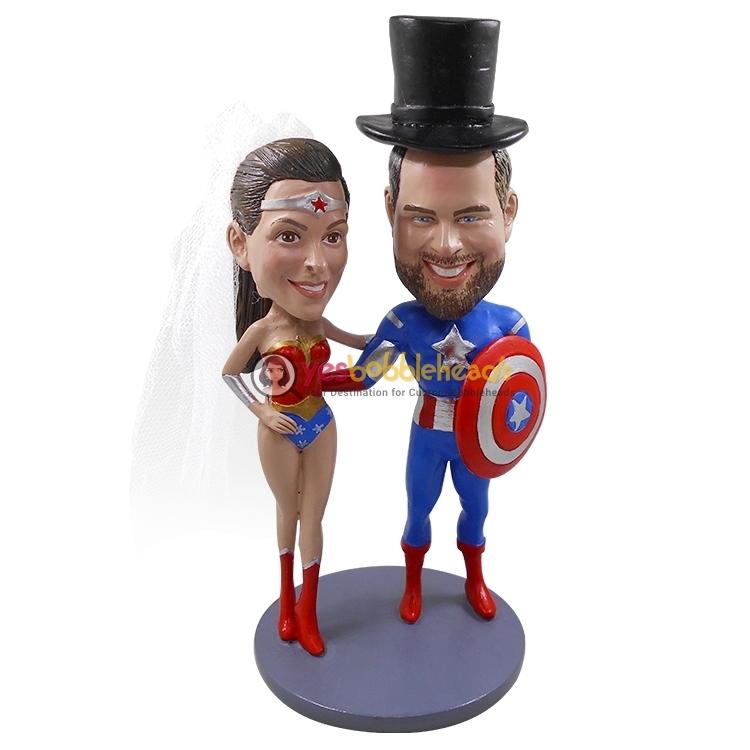 Picture of Custom Bobblehead Doll: Captain America & Wonder Woman