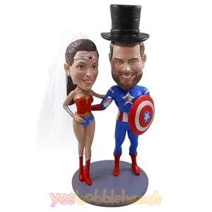 Picture of Custom Bobblehead Doll: Captain America & Wonder Woman