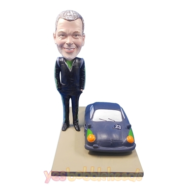 Picture of Custom Bobblehead Doll: Man With Racing Car