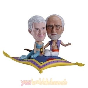 Picture of Custom Bobblehead Doll: Couple Sitting Together on Colorful Blanket