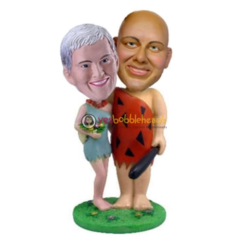 Picture of Custom Bobblehead Doll: Savage Couple Holding Flintstone