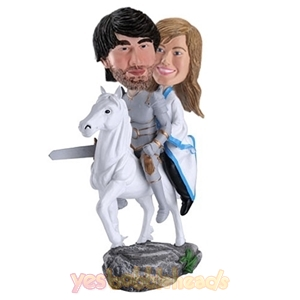 Picture of Custom Bobblehead Doll: Knight & Princess on White Horse