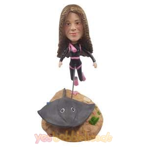 Picture of Custom Bobblehead Doll: Scuba Diving Woman with Stingray